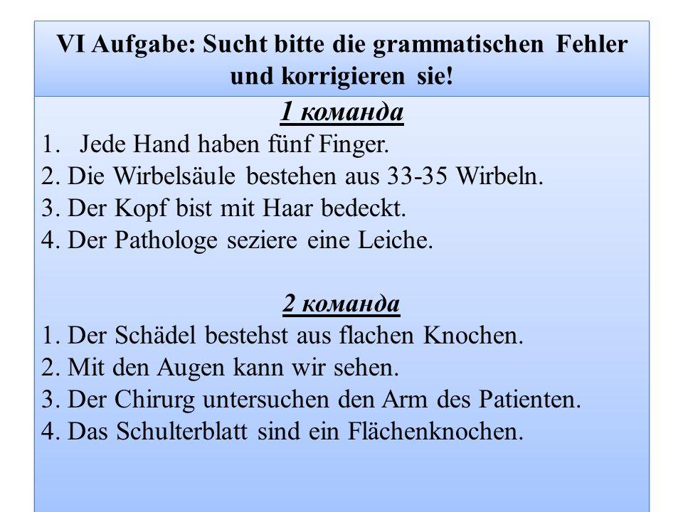VI Aufgabe: Sucht bitte die grammatischen Fehler und korrigieren sie!