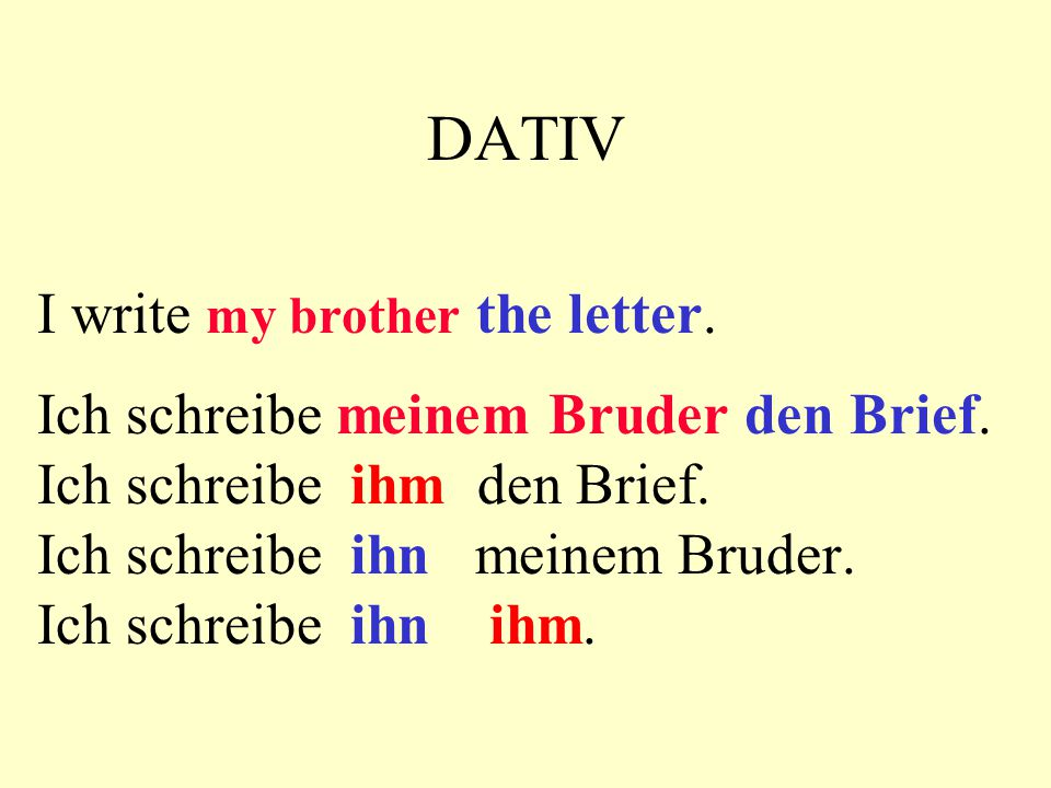 DATIV I write my brother the letter.