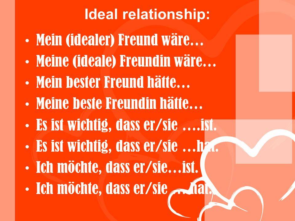 Ideal relationship: Mein (idealer) Freund wäre… Meine (ideale) Freundin wäre… Mein bester Freund hätte…
