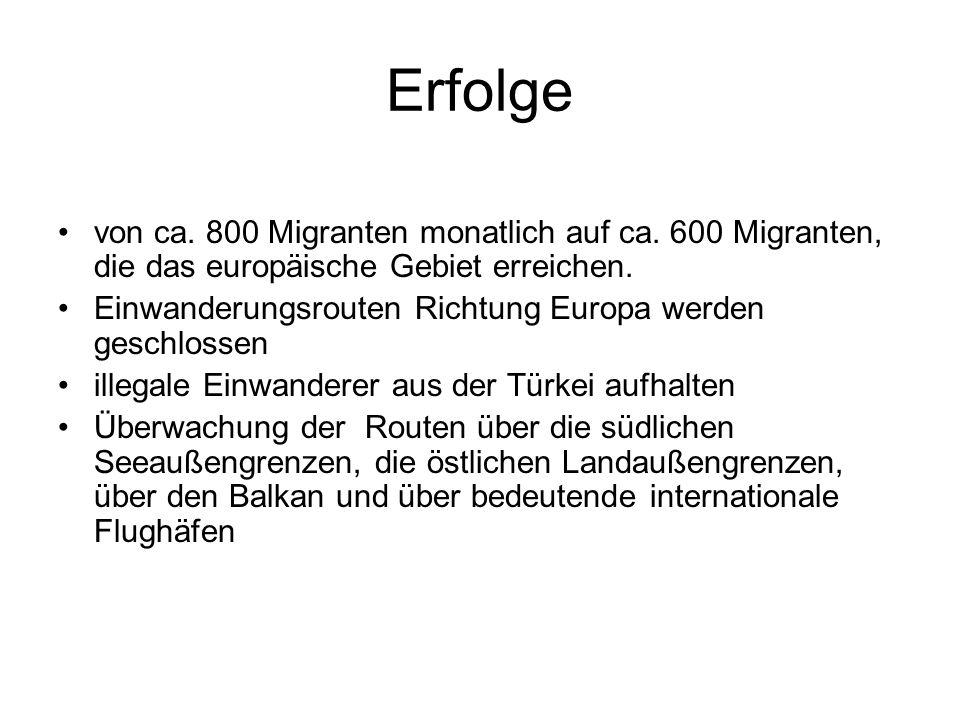 Erfolge von ca. 800 Migranten monatlich auf ca. 600 Migranten, die das europäische Gebiet erreichen.
