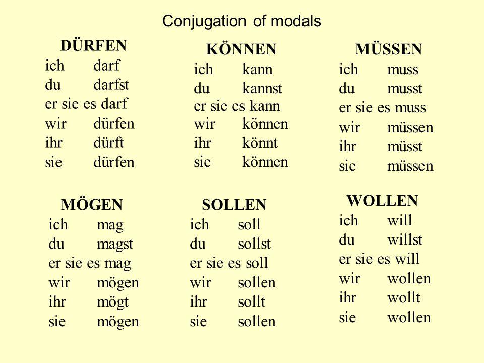 Conjugation of modals ich darf du darfst er sie es darf wir dürfen