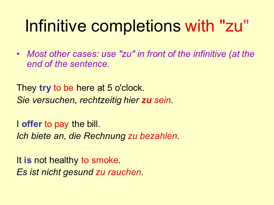 Infinitive completions with zu