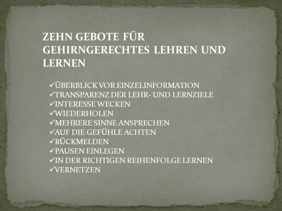 ZEHN GEBOTE FÜR GEHIRNGERECHTES LEHREN UND LERNEN