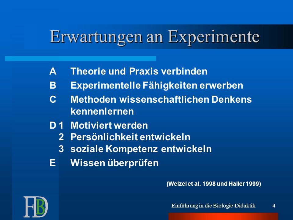 Erwartungen an Experimente