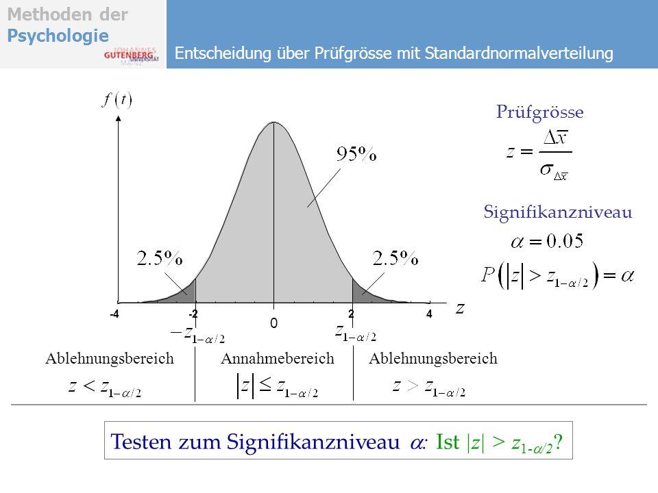 Testen zum Signifikanzniveau : Ist |z| > z1-a/2