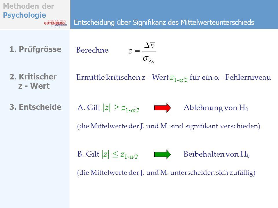 Ermittle kritischen z - Wert z1-a/2 für ein a- Fehlerniveau
