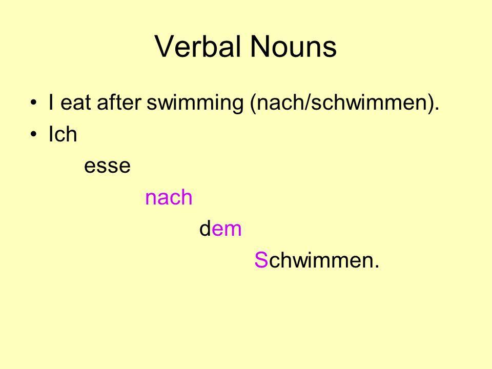 Verbal Nouns I eat after swimming (nach/schwimmen). Ich esse nach dem