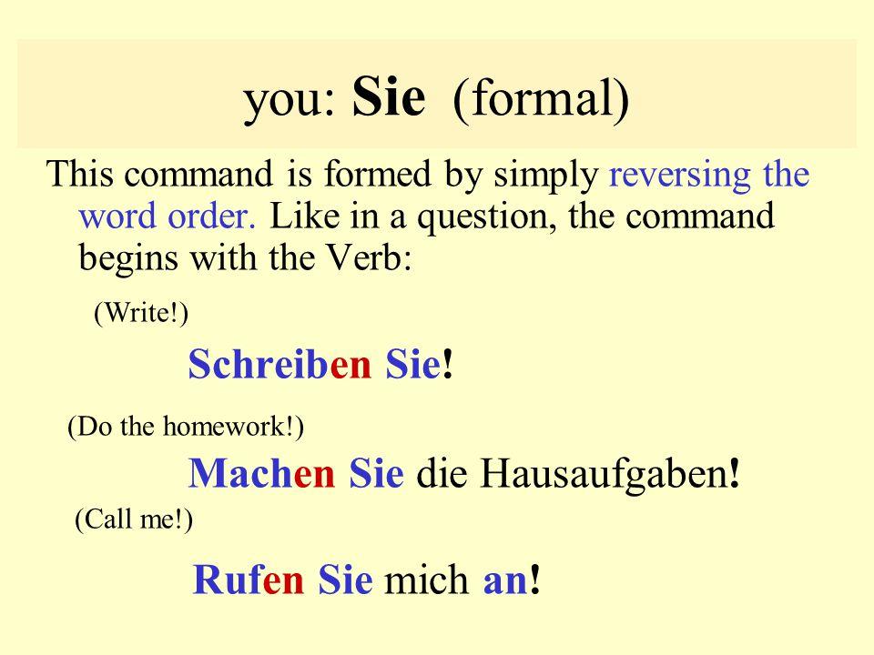you: Sie (formal) Rufen Sie mich an! Schreiben Sie! (Do the homework!)