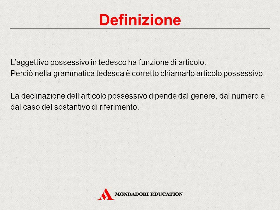 Definizione L'aggettivo possessivo in tedesco ha funzione di articolo.