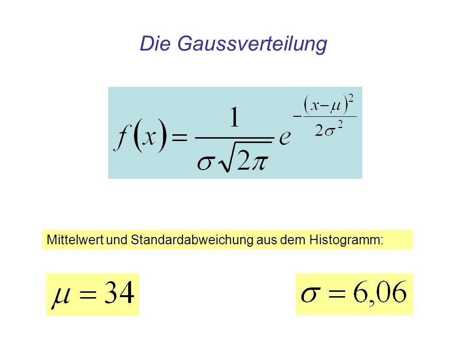 Die Gaussverteilung Mittelwert und Standardabweichung aus dem Histogramm: