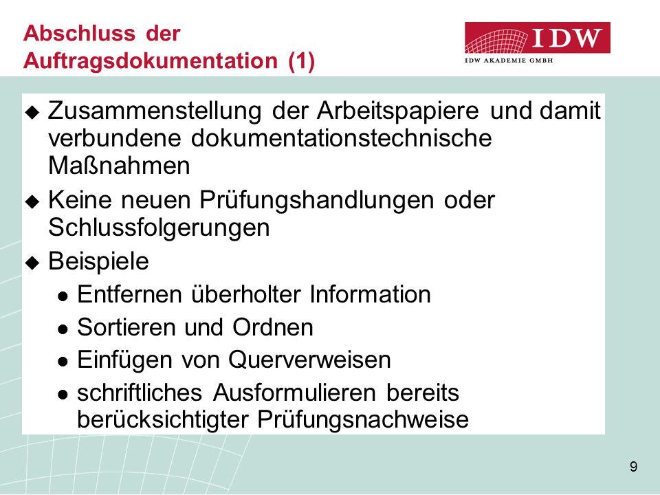 Abschluss der Auftragsdokumentation (1)