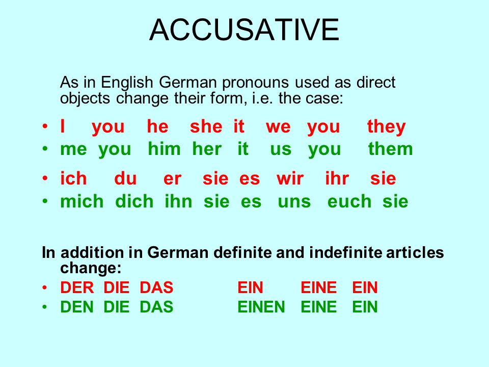 ACCUSATIVE I you he she it we you they me you him her it us you them