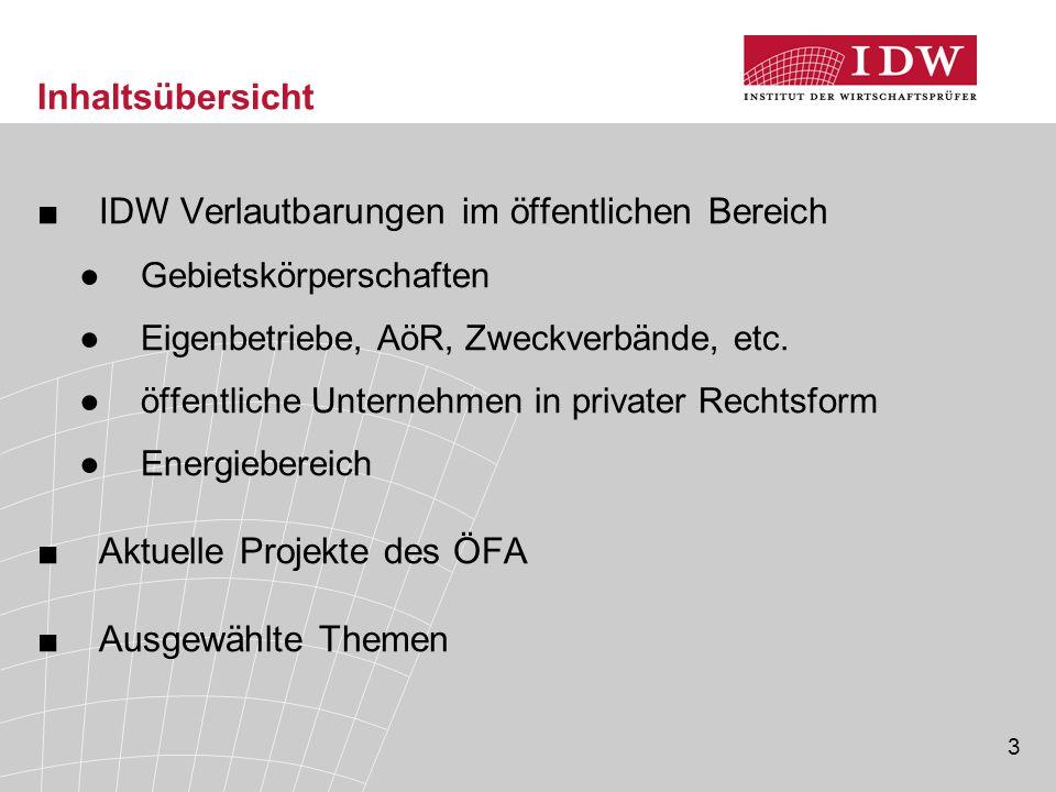 IDW Verlautbarungen im öffentlichen Bereich