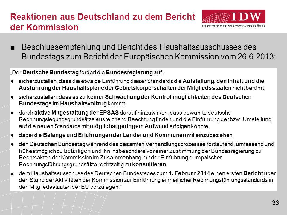Reaktionen aus Deutschland zu dem Bericht der Kommission