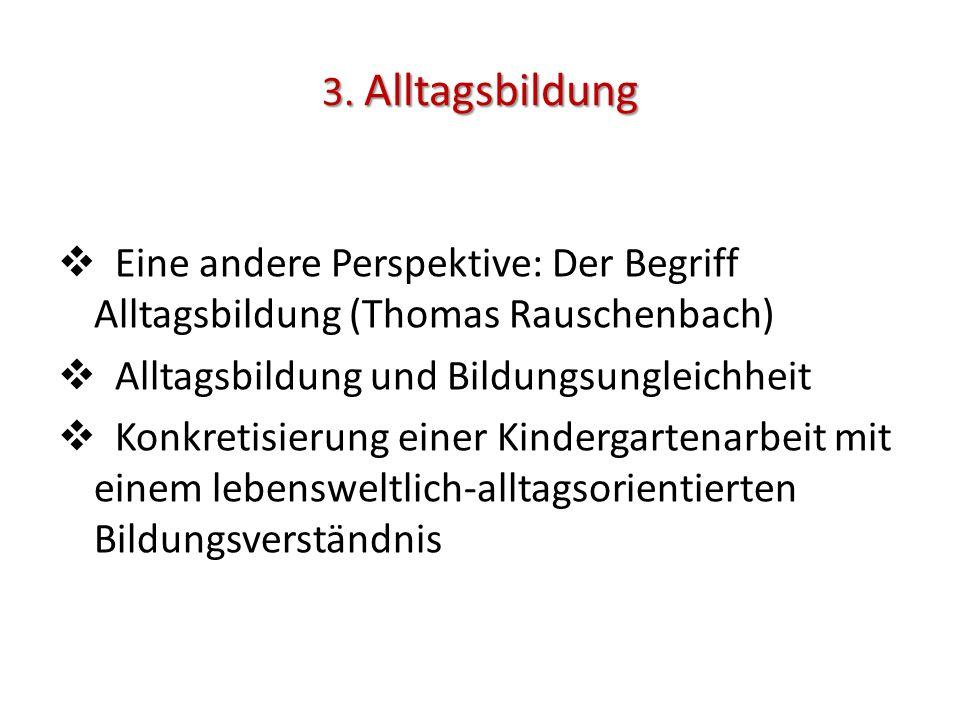 3. Alltagsbildung Eine andere Perspektive: Der Begriff Alltagsbildung (Thomas Rauschenbach) Alltagsbildung und Bildungsungleichheit.