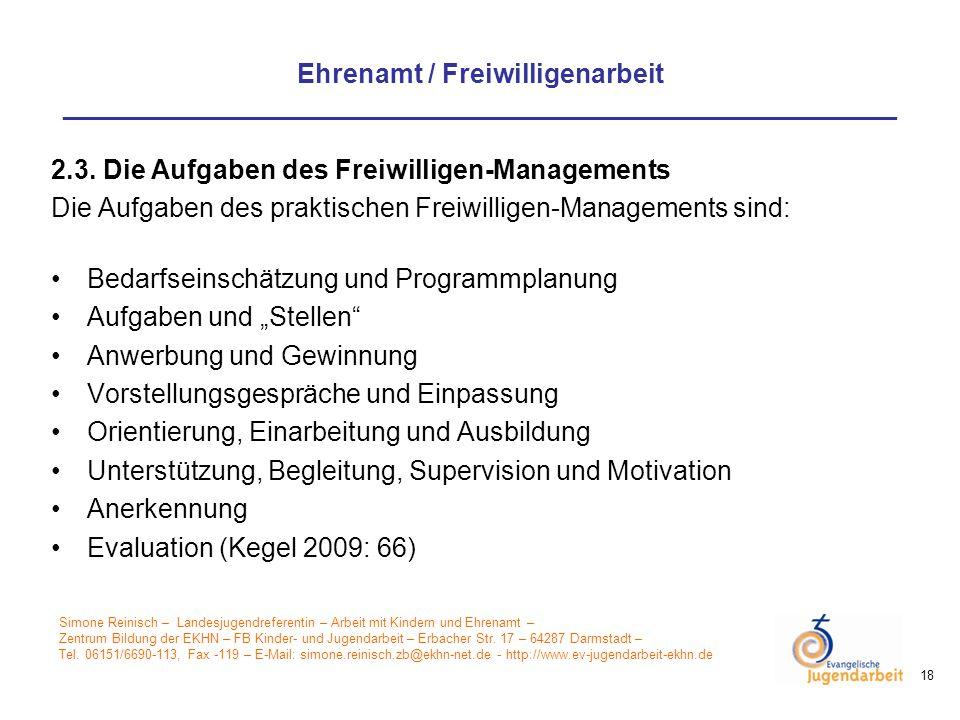2.3. Die Aufgaben des Freiwilligen-Managements