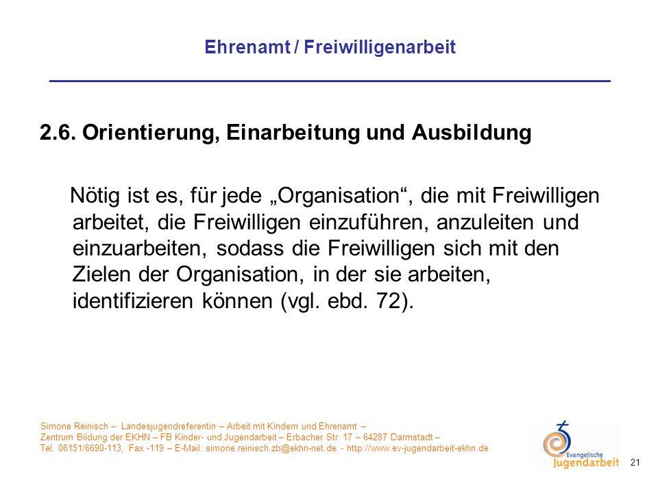 2.6. Orientierung, Einarbeitung und Ausbildung
