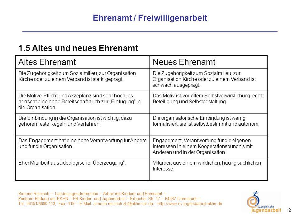 1.5 Altes und neues Ehrenamt Altes Ehrenamt Neues Ehrenamt