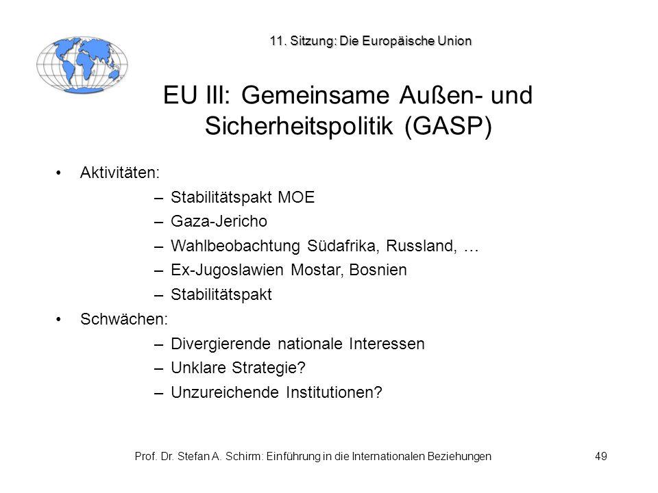 EU III: Gemeinsame Außen- und Sicherheitspolitik (GASP)