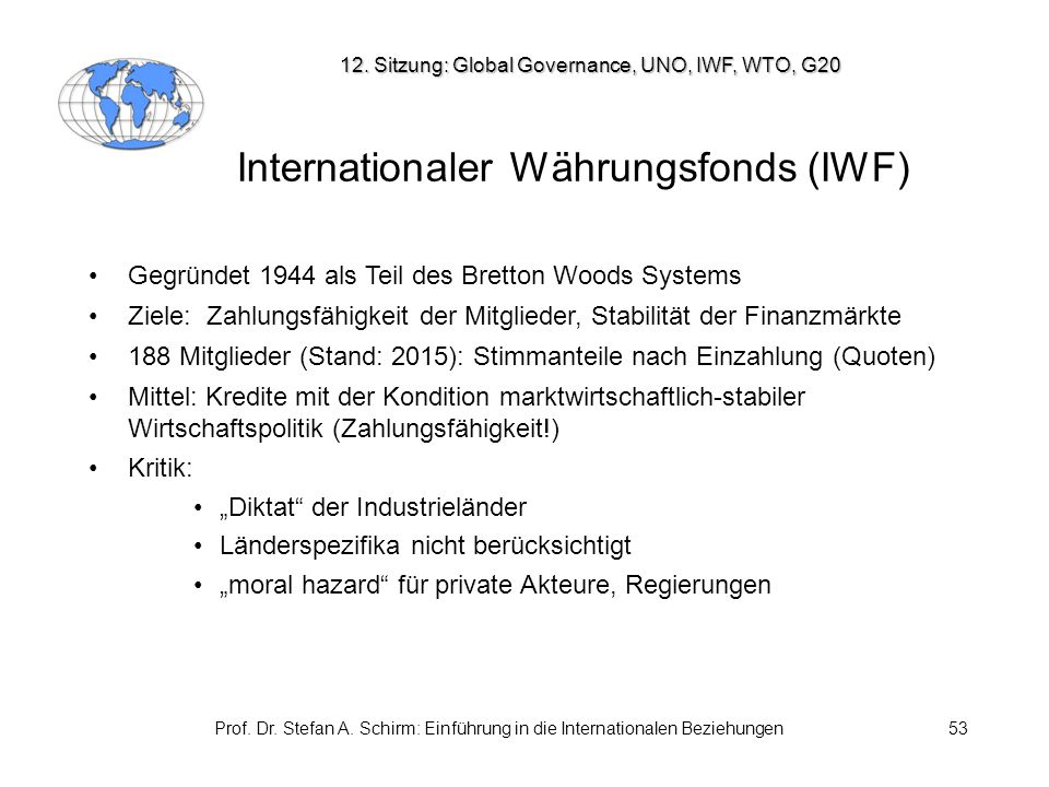 Internationaler Währungsfonds (IWF)