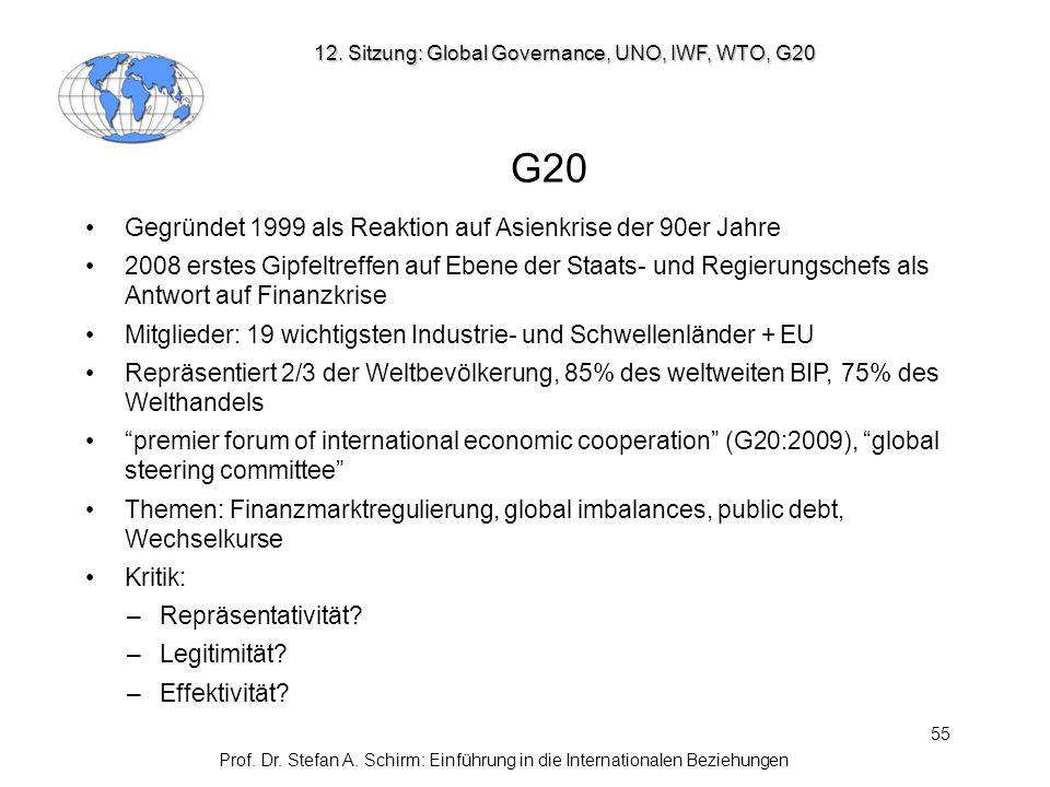12. Sitzung: Global Governance, UNO, IWF, WTO, G20