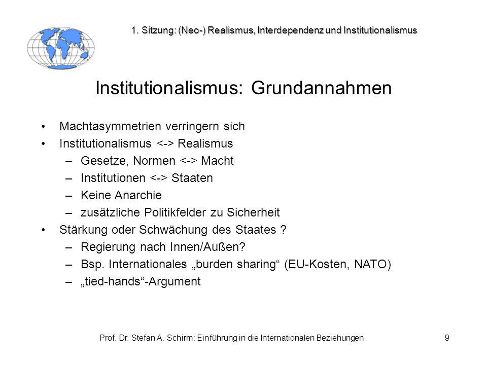 Institutionalismus: Grundannahmen