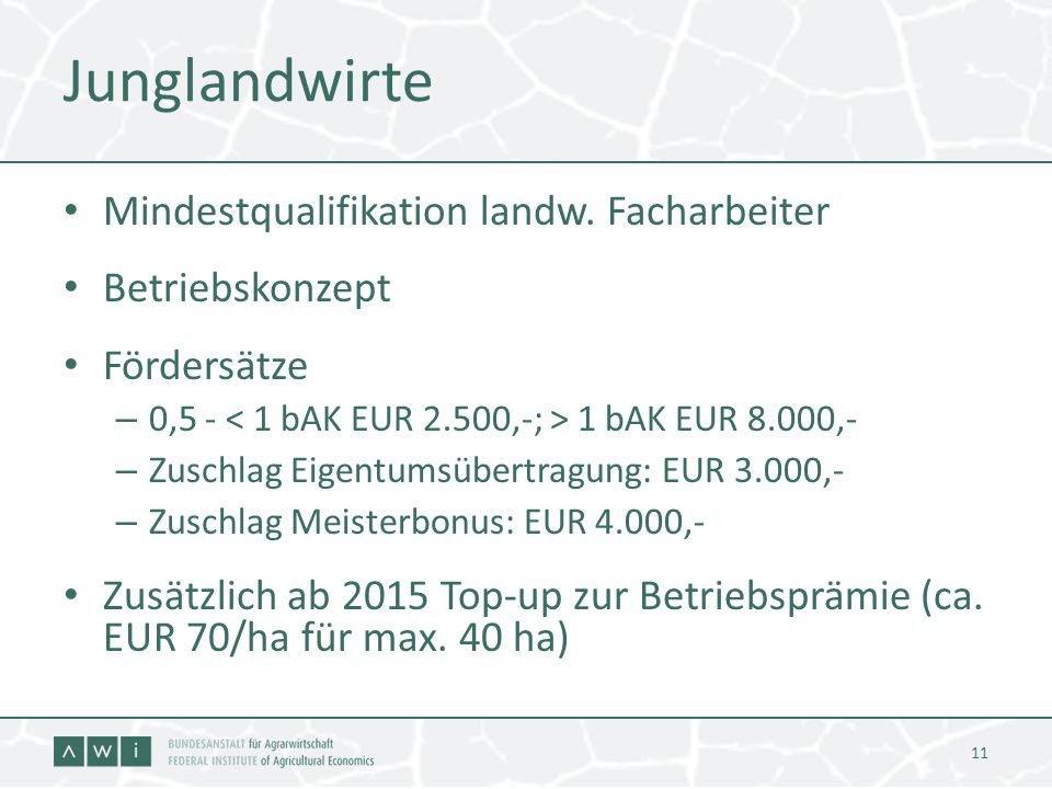 Junglandwirte Mindestqualifikation landw. Facharbeiter Betriebskonzept
