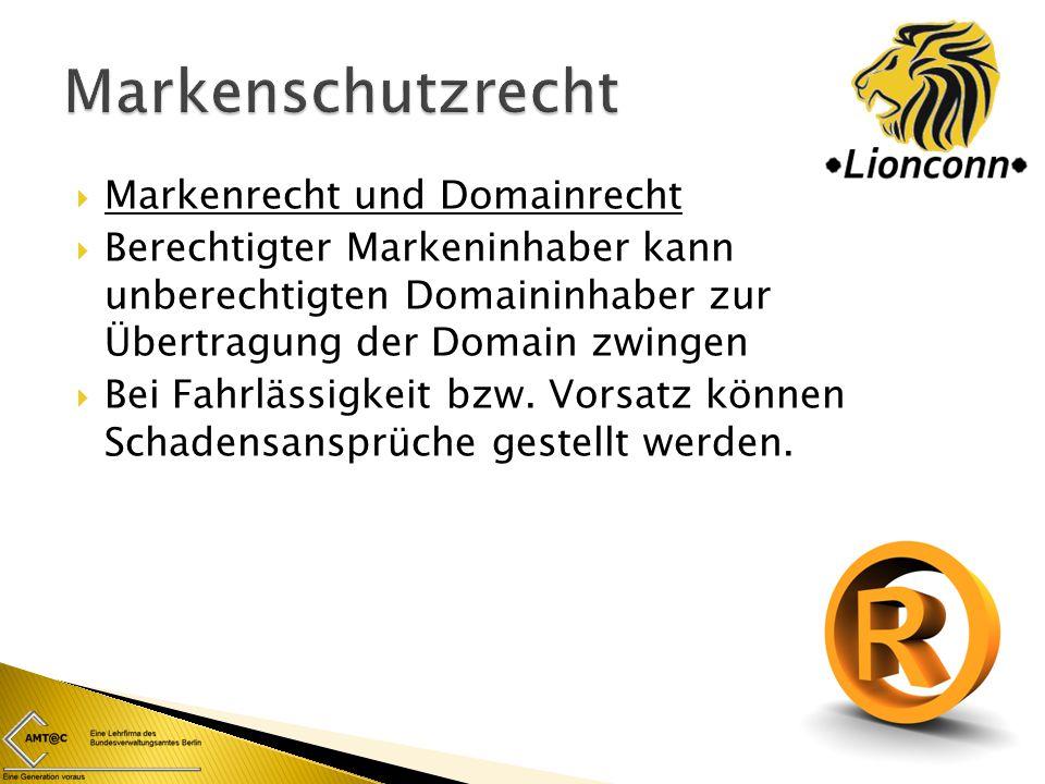 Markenschutzrecht Markenrecht und Domainrecht