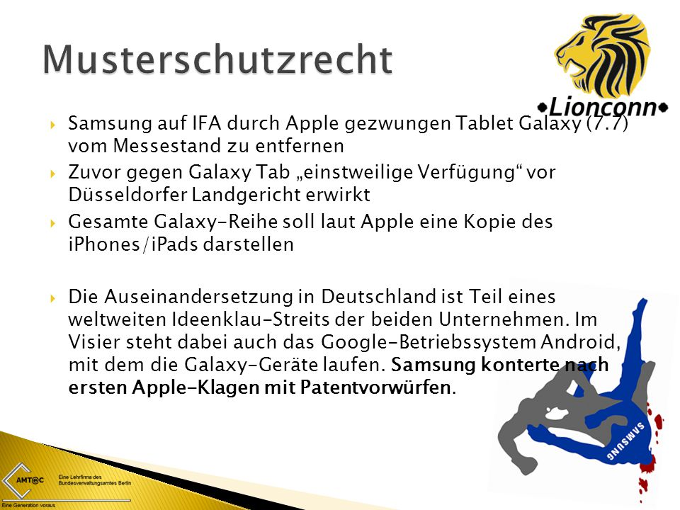 Musterschutzrecht Samsung auf IFA durch Apple gezwungen Tablet Galaxy (7.7) vom Messestand zu entfernen.