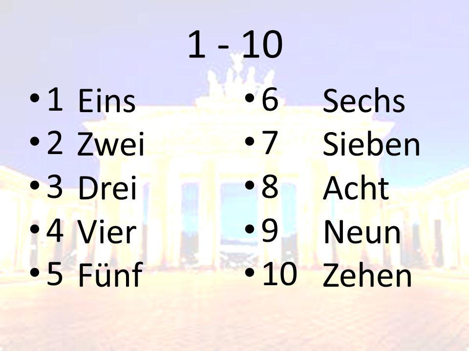 1 - 10 1 2 3 4 5 Eins Zwei Drei Vier Fünf 6 7 8 9 10 Sechs Sieben Acht