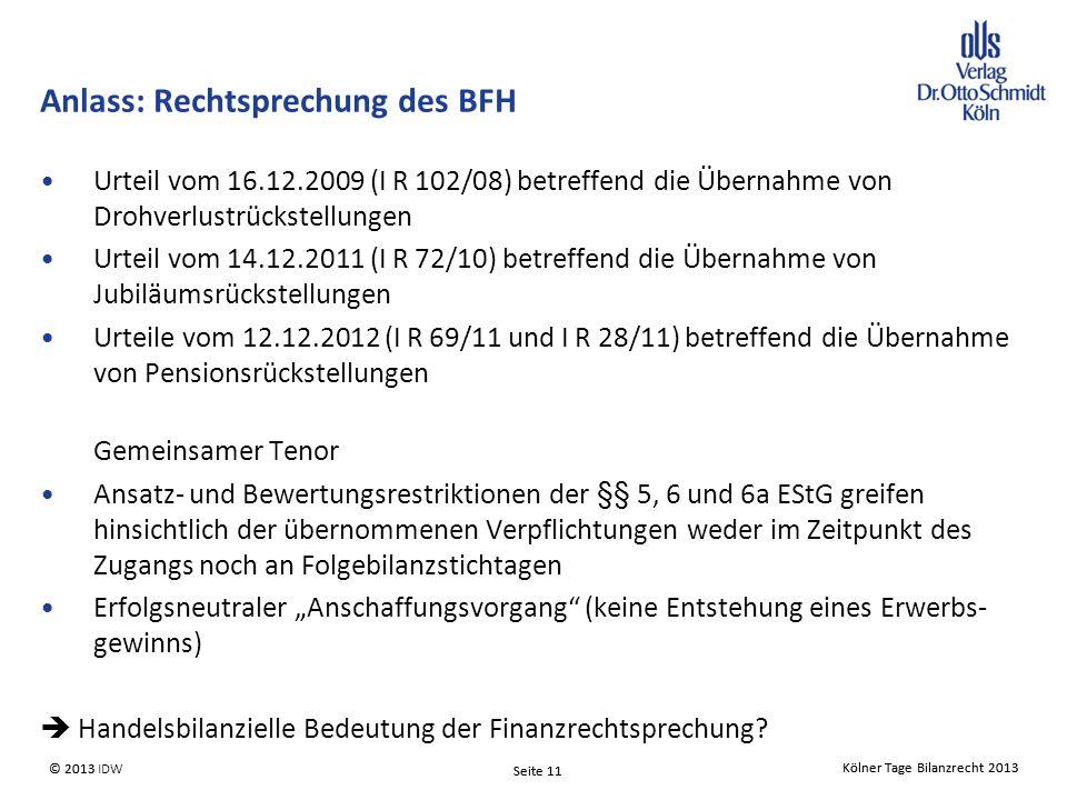 Anlass: Rechtsprechung des BFH