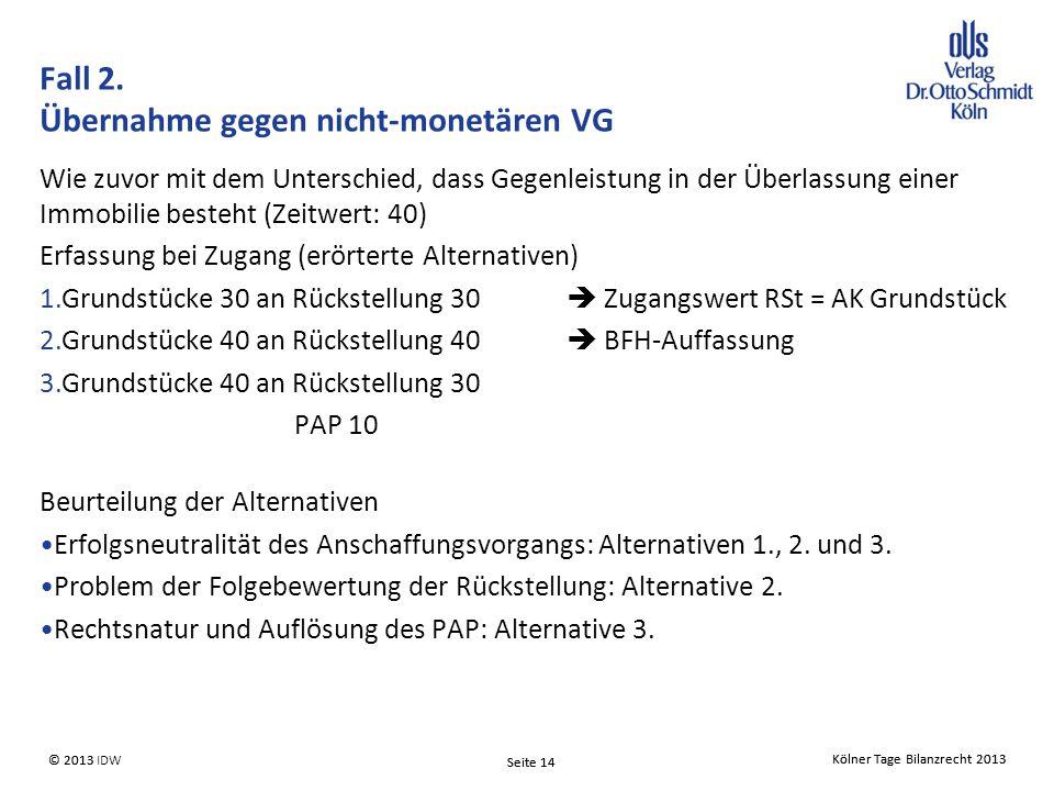 Fall 2. Übernahme gegen nicht-monetären VG