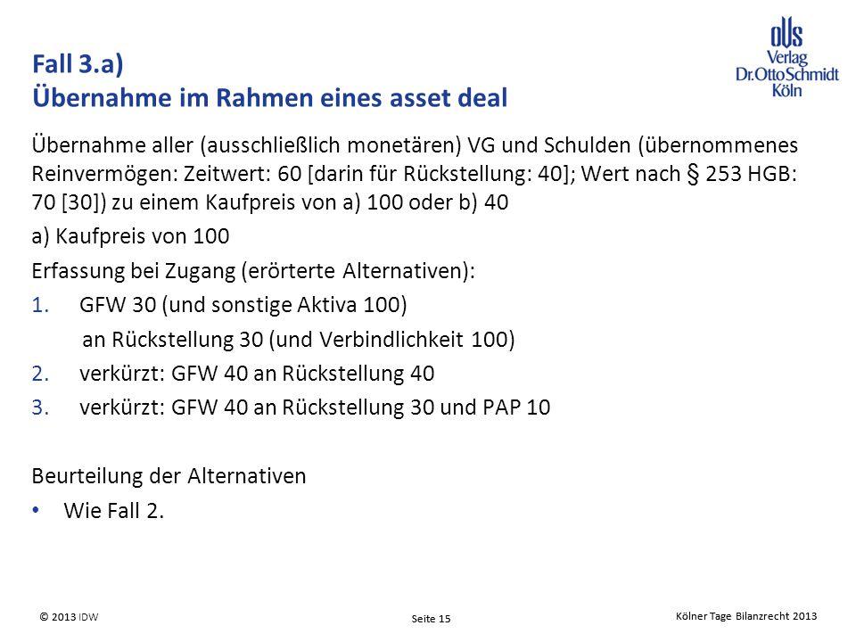 Fall 3.a) Übernahme im Rahmen eines asset deal