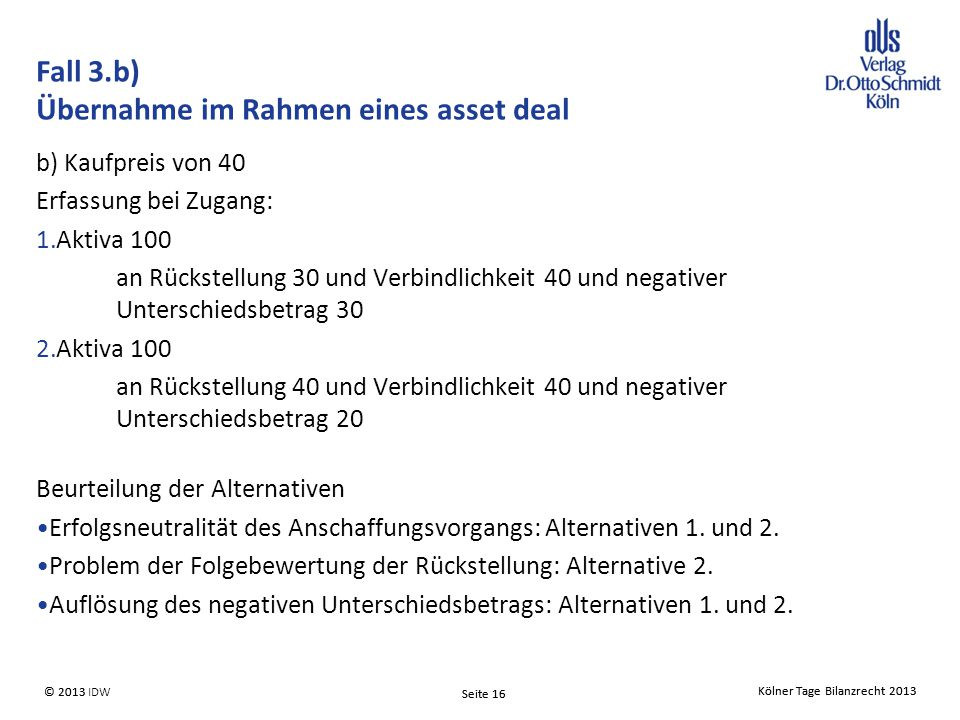 Fall 3.b) Übernahme im Rahmen eines asset deal