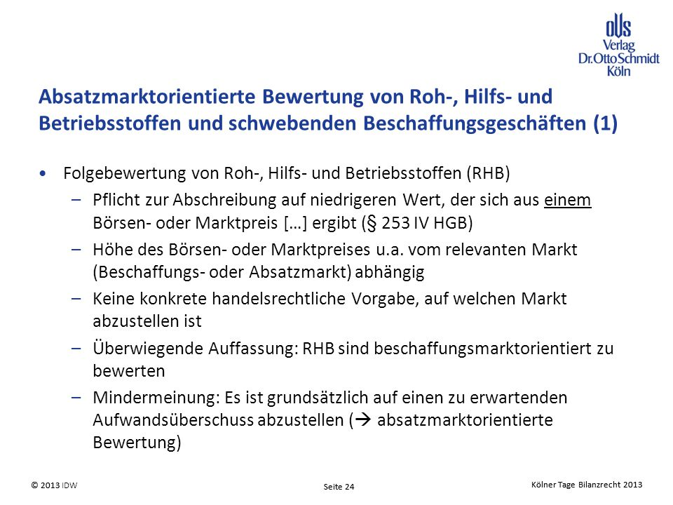 Absatzmarktorientierte Bewertung von Roh-, Hilfs- und Betriebsstoffen und schwebenden Beschaffungsgeschäften (1)