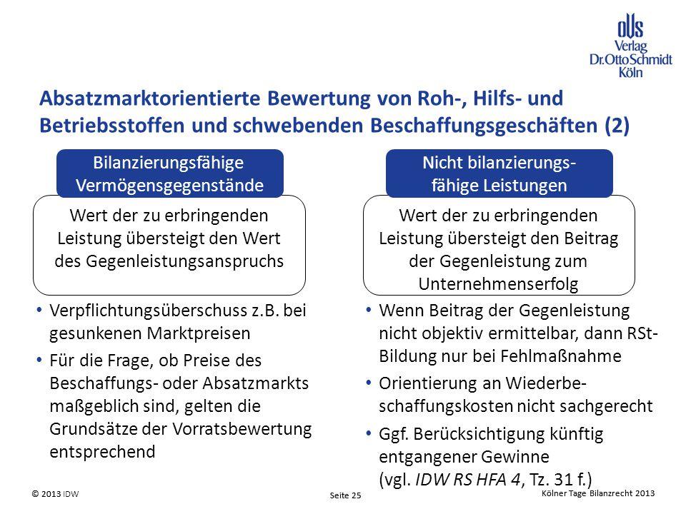Absatzmarktorientierte Bewertung von Roh-, Hilfs- und Betriebsstoffen und schwebenden Beschaffungsgeschäften (2)