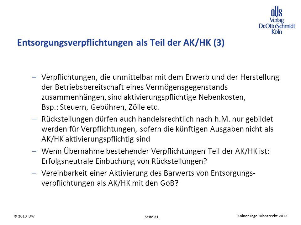 Entsorgungsverpflichtungen als Teil der AK/HK (3)