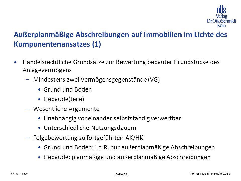 Außerplanmäßige Abschreibungen auf Immobilien im Lichte des Komponentenansatzes (1)