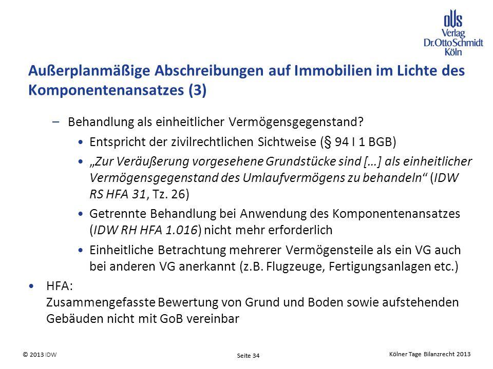 Außerplanmäßige Abschreibungen auf Immobilien im Lichte des Komponentenansatzes (3)