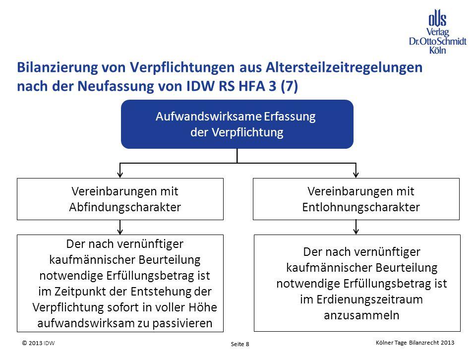 Bilanzierung von Verpflichtungen aus Altersteilzeitregelungen nach der Neufassung von IDW RS HFA 3 (7)