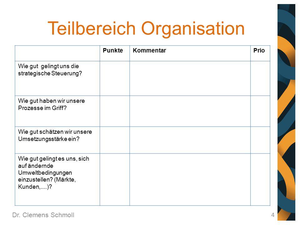Teilbereich Organisation