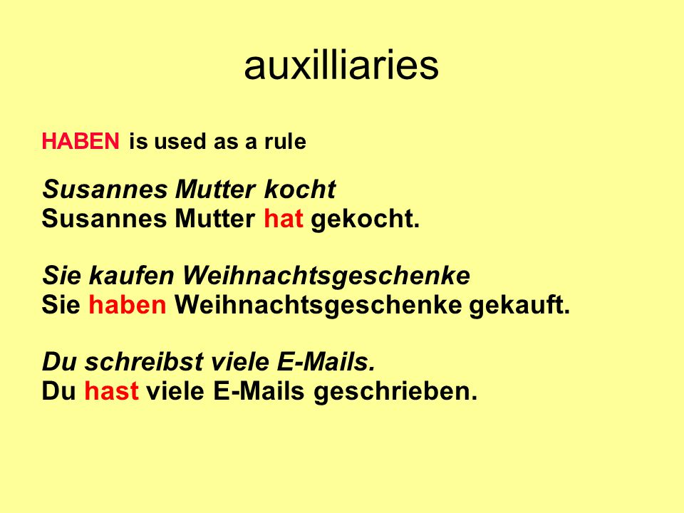 auxilliaries Susannes Mutter kocht Susannes Mutter hat gekocht.