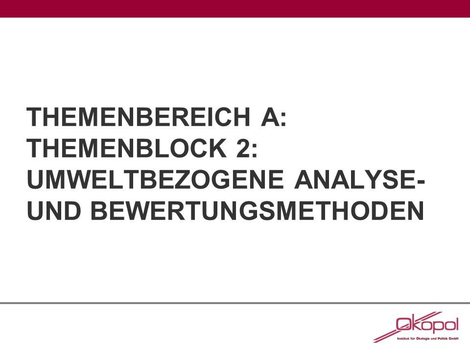 Themenbereich A: Themenblock 2: Umweltbezogene analyse- und bewertungsmethoden