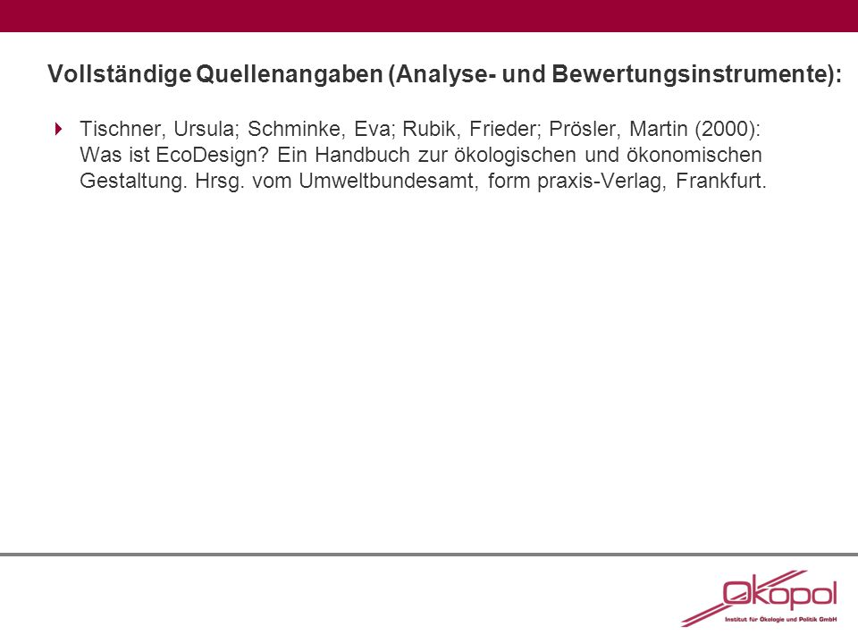 Vollständige Quellenangaben (Analyse- und Bewertungsinstrumente):