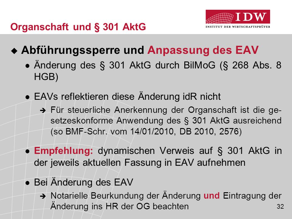 Abführungssperre und Anpassung des EAV