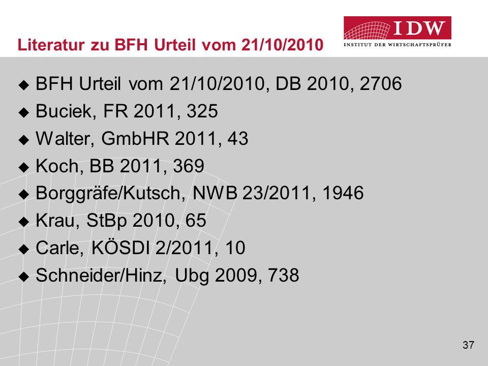 Literatur zu BFH Urteil vom 21/10/2010