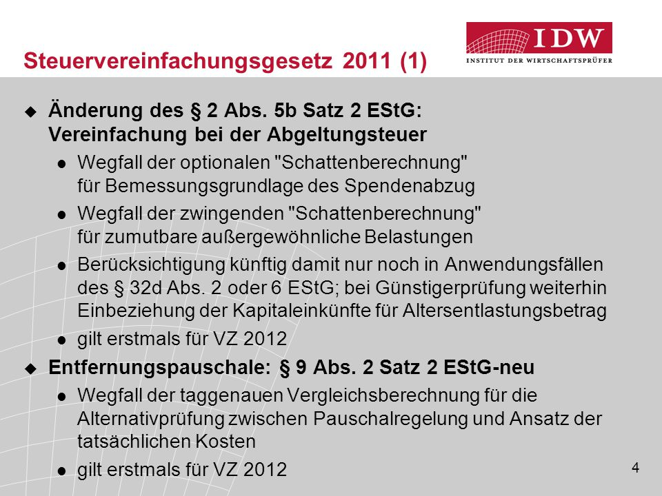 Steuervereinfachungsgesetz 2011 (1)