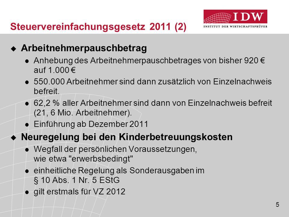Steuervereinfachungsgesetz 2011 (2)