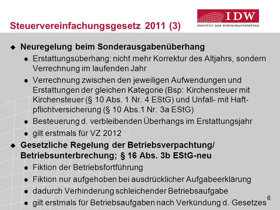 Steuervereinfachungsgesetz 2011 (3)