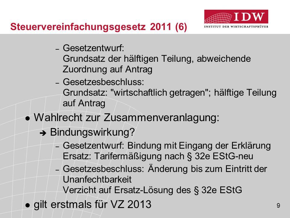 Steuervereinfachungsgesetz 2011 (6)